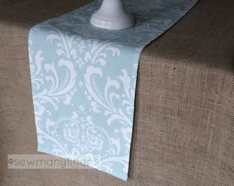 Light Powder Blue Table Runner Floral Linens Table Centerpiece Home Dining  Room Decor Kitchen Linens Floral