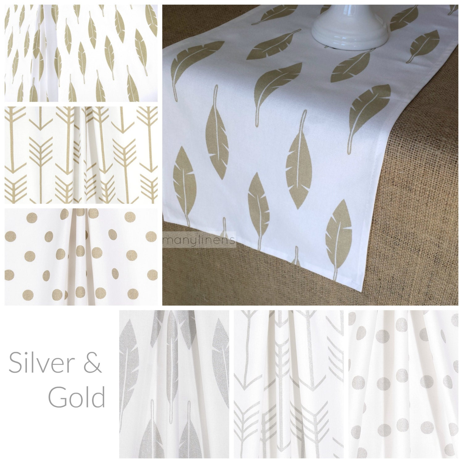 silver and gold table runner centerpiece feather by. Black Bedroom Furniture Sets. Home Design Ideas