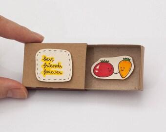 """Friendship Card/ Friend Valentine Matchbox/ Gift box/ """"Best Friends Forever""""/ Tomato Carrot/ OT028"""