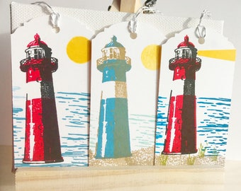 Lighthouse tags, Gift tags, Favor tags, Birthday tags