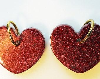Artisan created Red sparkle Earrings, dangle Redstone