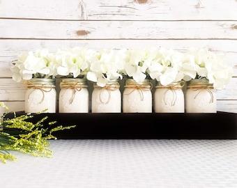 Rustic Flower Box Centerpiece- Mason Jar Decor- Rustic Wood Box Centerpieces- Painted Mason Jars with Flowers-Rustic Planter Box Centerpiece