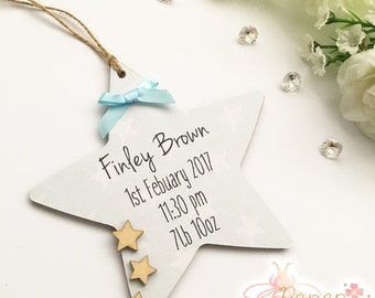 Birth Announcement Personalised Wooden Heart/Star Plaque - Any Name And Text - Baby Boy/Girl Nursery Decor Sign Gift