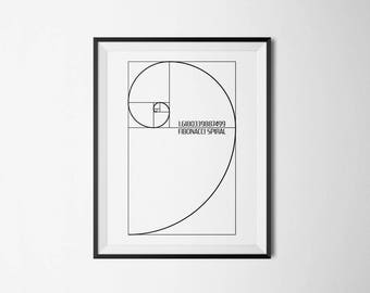 Fibonacci Spiral, Golden Ratio, Math Decor, Fibonacci Decor, Golden Ratio Decor, Fibonacci Poster, Fibonacci Wall Art, Fibonacci Wall Print