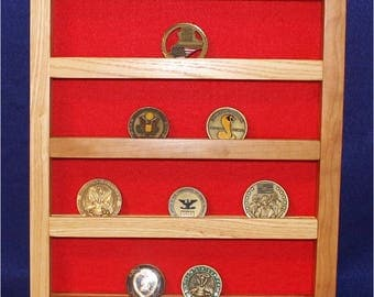 Military Unit Coin Hickory/Cherry Wood Wall-mount Display (20 coin)