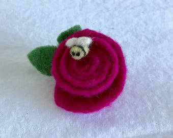 Mother's Day Pin, Mother's Day Gift, Rose Pin, Rose and Bee Pin, Brooches