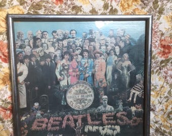 The Beatles Sgt Peppers Lonely Hearts Club Band Record Cover Framed Print Technicolor 1960s