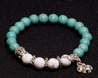 Turquoise and Howlite elastic buddha bracelet
