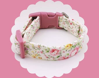 Ivory Floral w/ Pink Roses  Dog or Puppy Collar