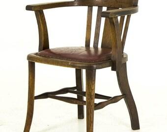 B455 Antique Oak Arm Chair, Lawyer, Court Room, Office Chair