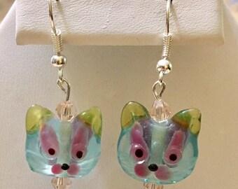 Glass Cat Earrings