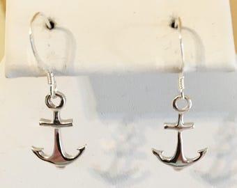 Sterling Silver Ships Anchor Earrings
