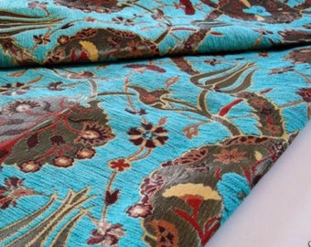 SALE!!!by the Meters,Yards,Tulips,Chenille,Jacquard, Ethnic,Tribal,Turkish,Ottoman Chenille Upholstery Fabric, Velvet , Fabric,Turqoise