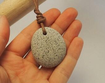 Irish beachstone pendant, unique freckled stone pebble, made in Ireland
