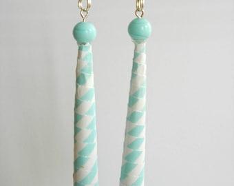 Earrings of paper.  drops, light blue