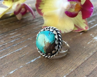 Turquoise And Sterling Silver Ring   Vintage Jewelry   Bohemian Accessories   Boho Rings   Gypsy Accessories   December Birthstone