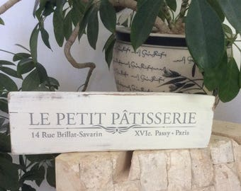 LE PETIT PATISSERIE French pastry sign,  kitchen decor, shabby chic decor, cottage decor, French sign