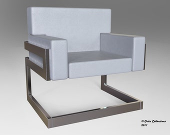 Chloe Series White Leather and Brushed Stainless Steel Lounge Chair