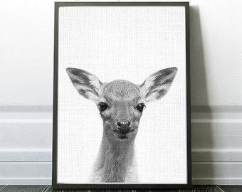 Black And White Deer Print, Deer Artwork, Kids Bedroom Wall Art,Woodland Minimalist Art, Nursery Prints, Minimalist Prints, Instant Artwork