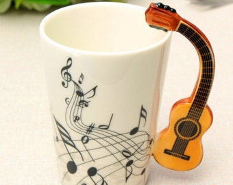 Novelty Guitar Music Ceramic Cup Mug