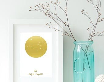 Leo Zodiac Constellation Alternative, Astrology, Star Signs, Horoscope. Real Foil Print. Home Decor. Homemade Gift. Love. Personalised,