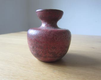 Mobach ceramic small 70s vase with ox blood glaze