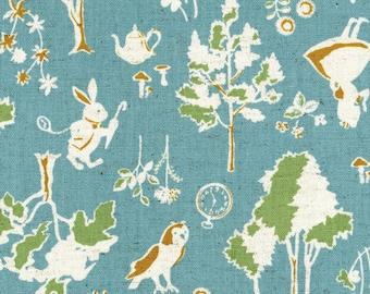 Alice in Wonderland Fabric | Blue Canvas | White Rabbit | Wonderland Print | Owls | Deer | Kokka | Japanese Import Fabric | Forest | Trees