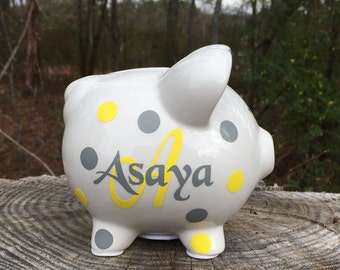 Small Piggy Bank, Personalized Piggy Bank, Ceramic Piggy Bank, Custom Bank,  Kids Piggy Bank, Baby Shower, Birthday Gift, Christmas In July
