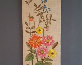 Swedish Embroidered Tapestry Wallhanging Summer Flowers Scandinavian Romantic Design Very well made Handicraft