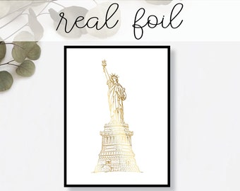 Statue of Liberty New York Print // Real Gold Foil // Minimal // Gold Foil Art // Home Decor // Modern Office Print // Landmark // World