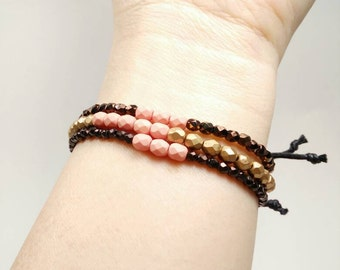 Pale Pink Stacking Bracelets with Adjustable Cotton Cord