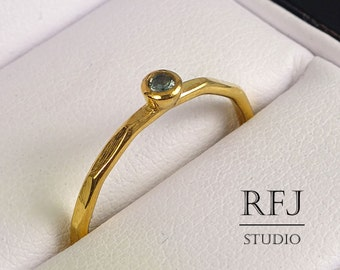 Yellow Gold Plated Lab Tourmaline Faceted Ring, October Birthstone Light Green 2 mm CZ 24K Gold  Ring Tourmaline Gold Ring Gold CZ Ring