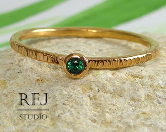 Textured Emerald 14K Gold  Ring, Green 2 mm Cubic Zirconia May Birthstone 14K Rose Gold Plated Ring Stackable Lab Emerald Rose Gold Ring