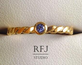 Rose Gold Flat Rope Natural Iolite Ring, 14K Gold Plated 2 mm Round Iolite Ring, Iolite Rose Gold Ring, Blue Genuine Iolite Rose Gold Ring