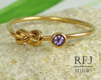 Natural Amethyst Infinity Knot 14K Rose Gold Plated Ring, February Birthstone Love Ring, 2 mm Round Cut Purple Gemstone 14K Gold  Ring