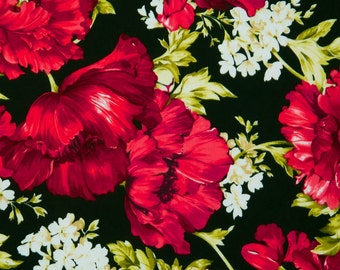 "New Floral Fabric: Audrey Poppies and White Flowers by Timeless Treasures 100% Cotton Fabric by the yard 36""x43"" (P256)"