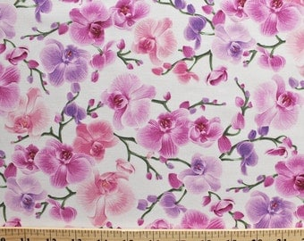 """New Floral Fabric: Orchids Flowers Branches and Vines by Timeless Treasures 100% Cotton Fabric by the yard 36""""x43"""" (P254)"""