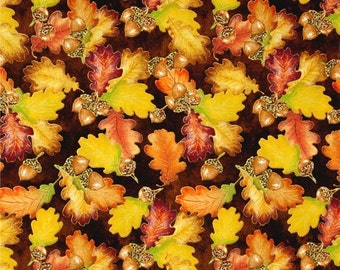 "Leaves Fabric: Harvest Bounty Acorn and Leaf Toss Brown  Metallic by Quilting Treasures 100% cotton fabric by the yard 36""x43"" (N644)"