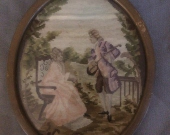 Framed Needlepoint of French Aristocracy
