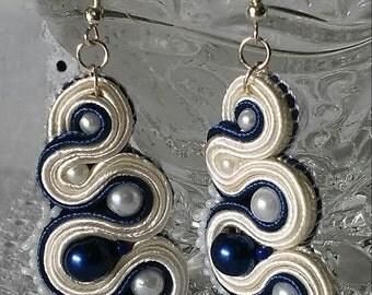 White-blue Soutache unique Earrings