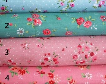 Beautiful Shabby Chic floral Turquoise/rose pink fabric, per fat quarter/per half meter/per meter/per fat quarter bundle
