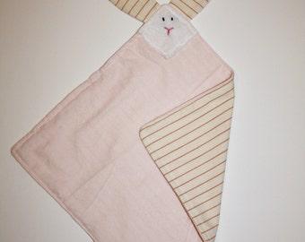 Pink Striped Bunny Blankie