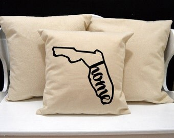 Florida Home Pillow, Florida Pillow, home pillow, pillow gift, Florida gift, Envelope Pillow Cover, state pillow, FL pillow, 20x20 pillow