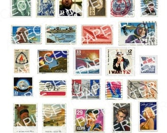USA Stamps digital download collage sheet /37 stamps