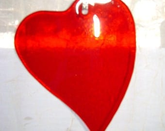 Red Stained Glass Heart Suncatcher Kiln-Fired