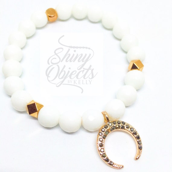 Faceted White Onyx Beaded Bracelet with Rose Gold Pave Crescent Moon