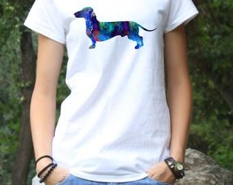 Dachshund Tee - Dog T-shirt - Fashion Tee - White shirt - Printed shirt - Women's T-shirt