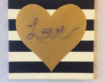 Love Home Decor // stripes // balck and white stripe // gift for her // canvas wall art