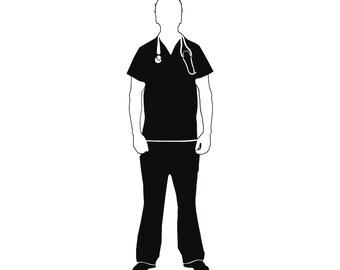Male Scrub Nurse Medical Doctor Physician Uniform Health .SVG .EPS Instant Digital Clipart Vector Cricut Cut Cutting Download Printable File