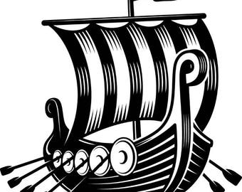 Viking Ship #1 Norway Sail Sailing Warrior.SVG .EPS .PNG Instant Digital Clipart Vector Cricut Cut Cutting Download Printable Scrapbook File